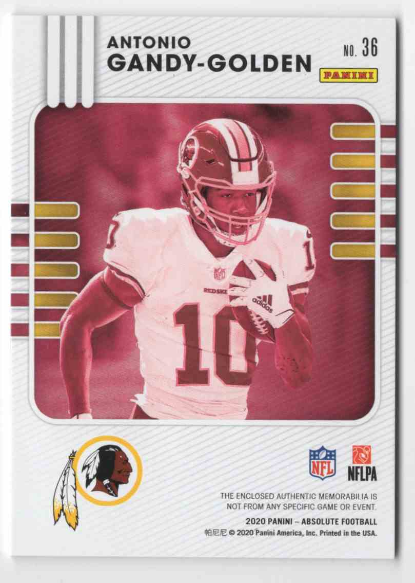 2020 Absolute Absolute Rookie Materials Antonio Gandy-Golden #36 card back image