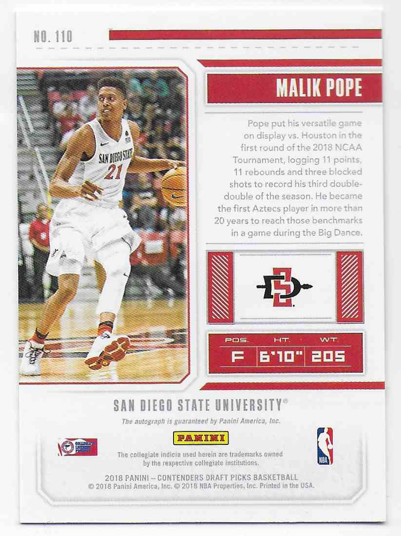 2018-19 Panini Contenders Draft Picks Draft Picks Malik Pope #110 card back image