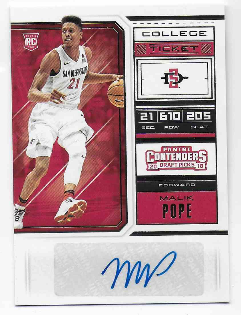 2018-19 Panini Contenders Draft Picks Draft Picks Malik Pope #110 card front image