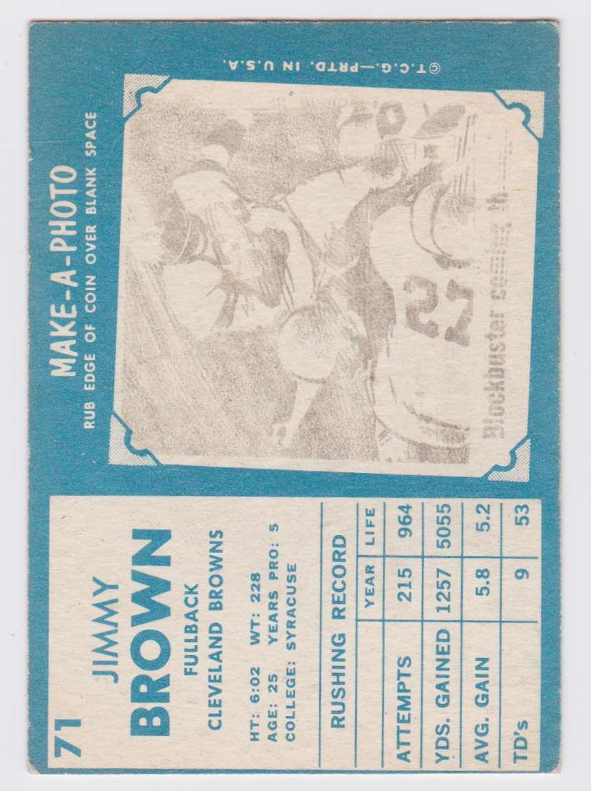 1961 Tcg Jim Brown #71 card back image