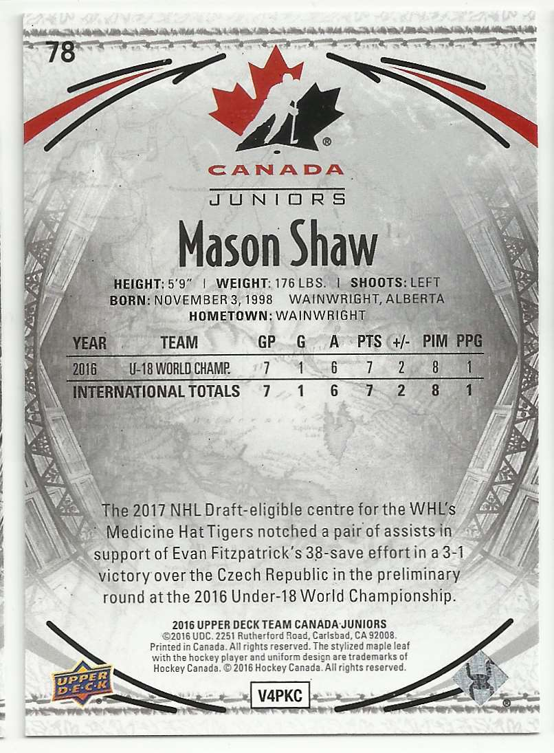 2016-17 Upper Deck Team Canada Juniors Mason Shaw #78 card back image