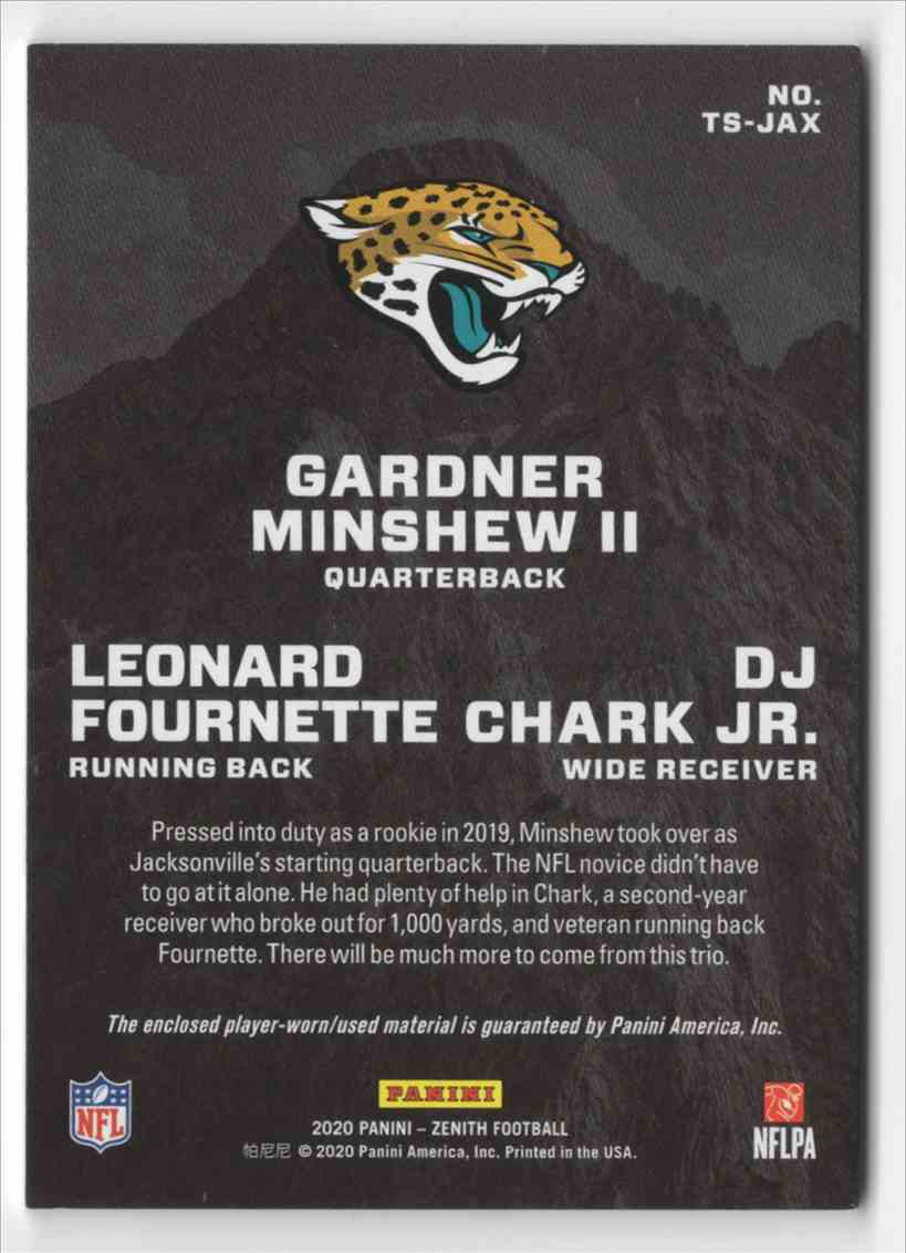 2020 Zenith Team Summit Materials Gardner Minshew II / Leonard Fournette / D.J. Chark JR. #13 card back image