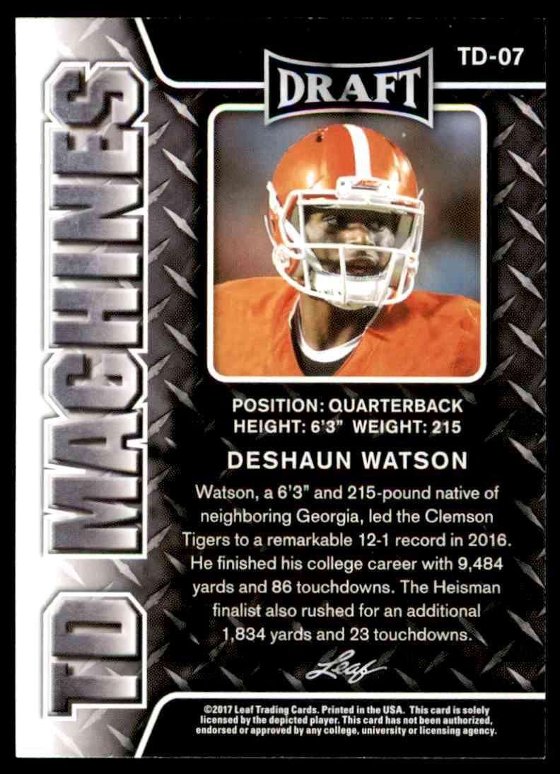2017 Leaf Draft Deshaun Watson #TD-07 card back image