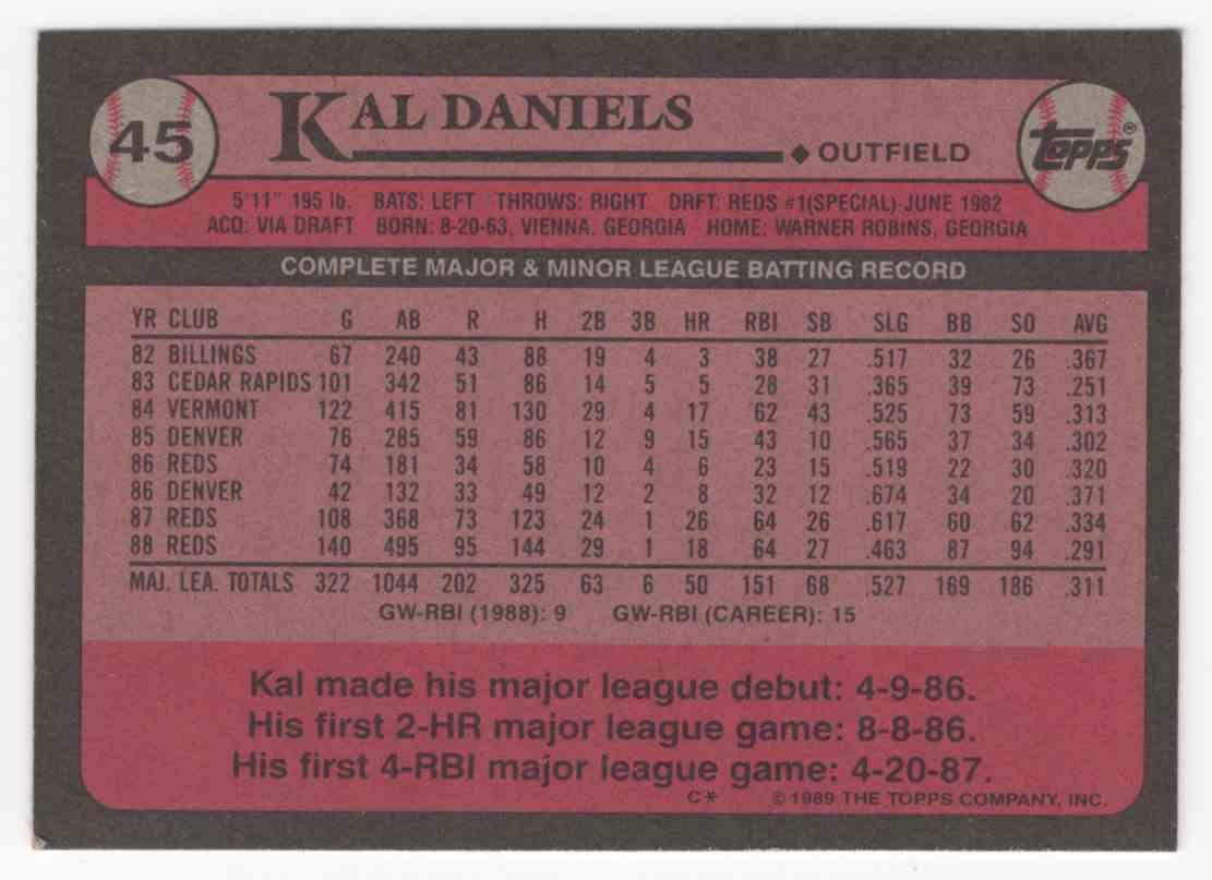 1989 Topps Kal Daniels #45 card back image