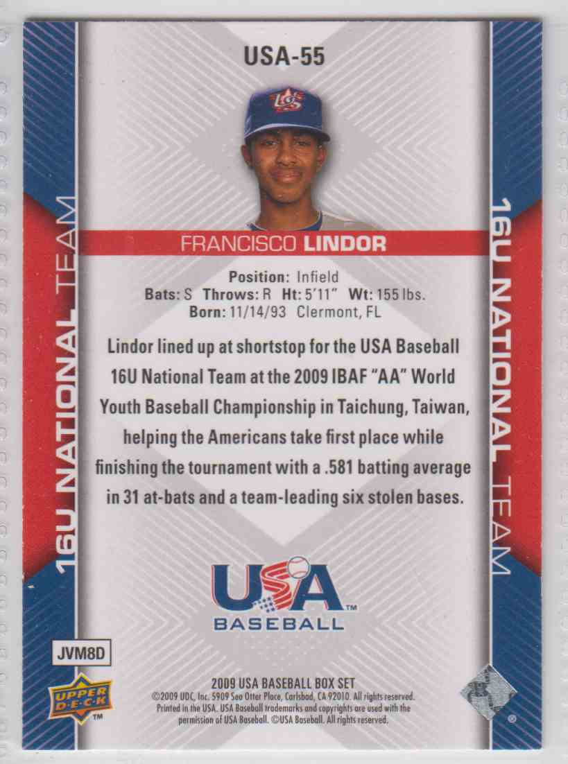 2009 2009-10 Upper Deck USA Baseball Francisco Lindor #USA-55 card back image