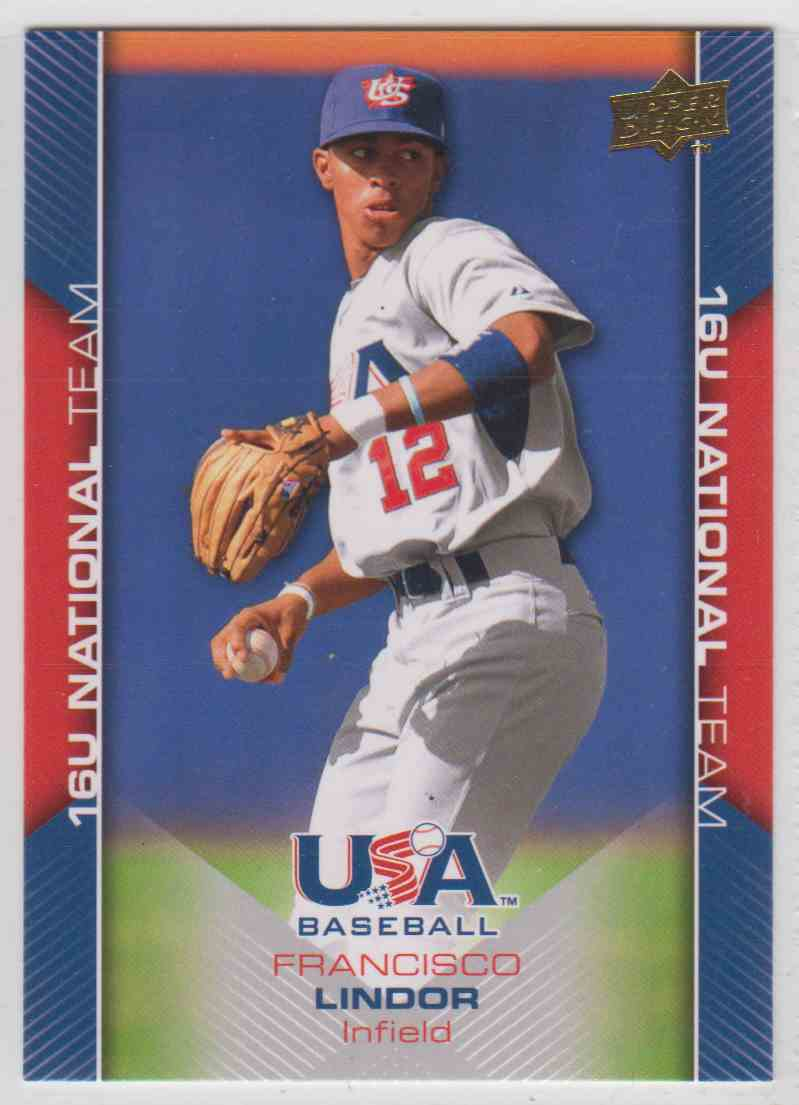 2009 2009-10 Upper Deck USA Baseball Francisco Lindor #USA-55 card front image