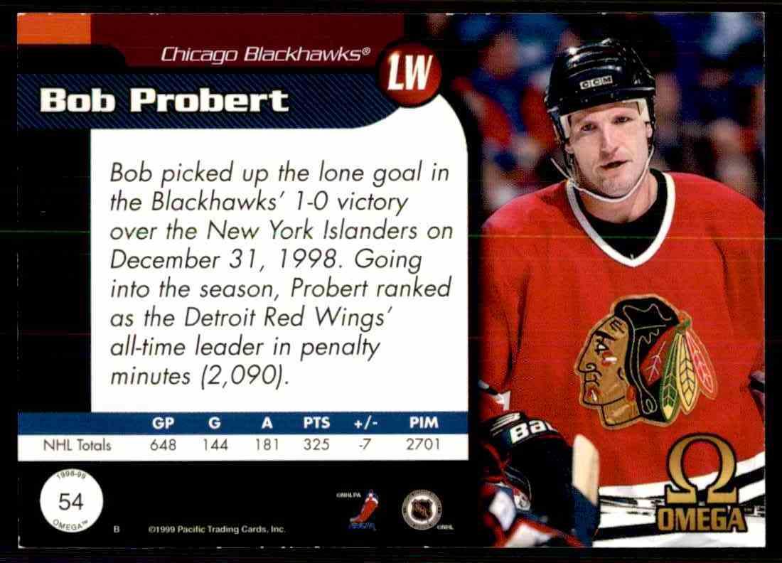 Real card back image 1998-99 Pacific Omega Bob Probert  54 card back image ce10bd76d