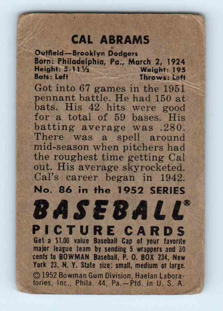 1952 Bowman Cal Abrams #86 card back image