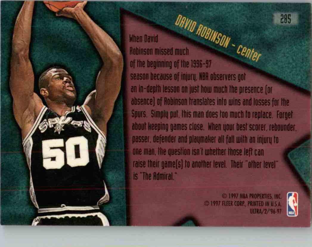 1996-97 Fleer Ultra David Robinson #285 card back image