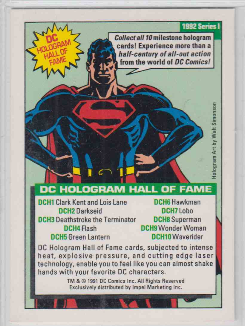 1991 DC Comics Hologram Superman #DCH8 card back image