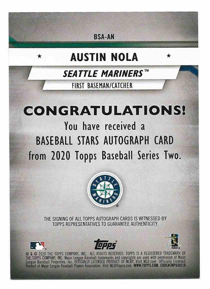 2020 Topps Series 2 Baseball Stars Autographs Austin Nola #AN card back image