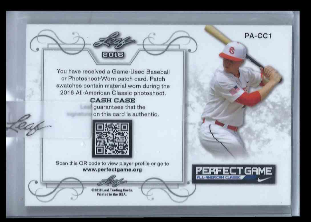 2016 Leaf Perfect Game Swatch Cash Case #PA-CC1 card back image