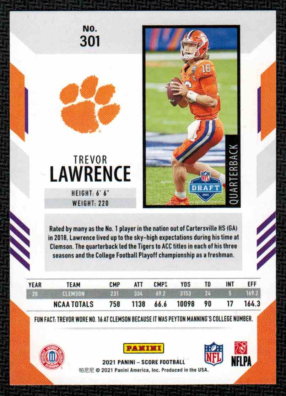 2021 Panini Score Trevor Lawrence #301 card back image