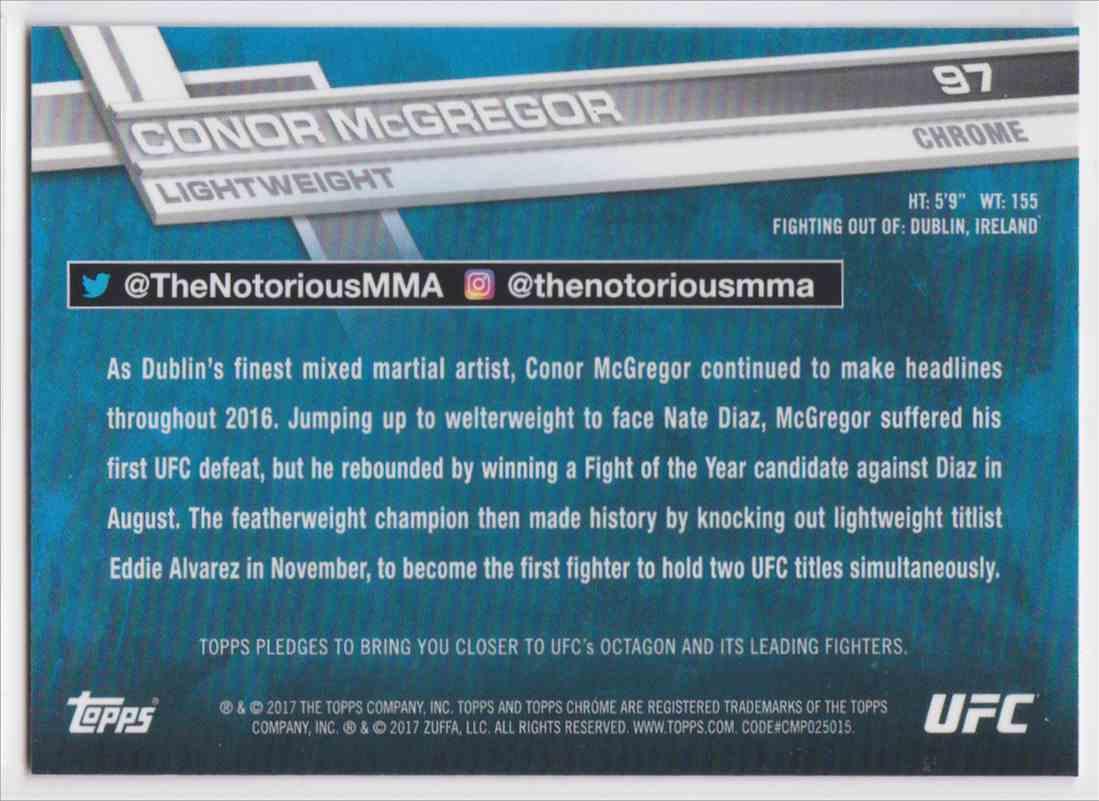 2017 Topps Chrome UFC Conor Mcgregor #97 card back image