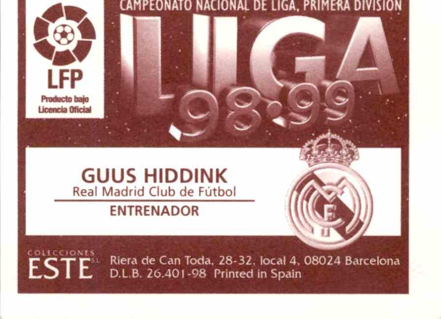Real Card Back Image 1998 Liga Este 98 99 Base Guus Hiddink