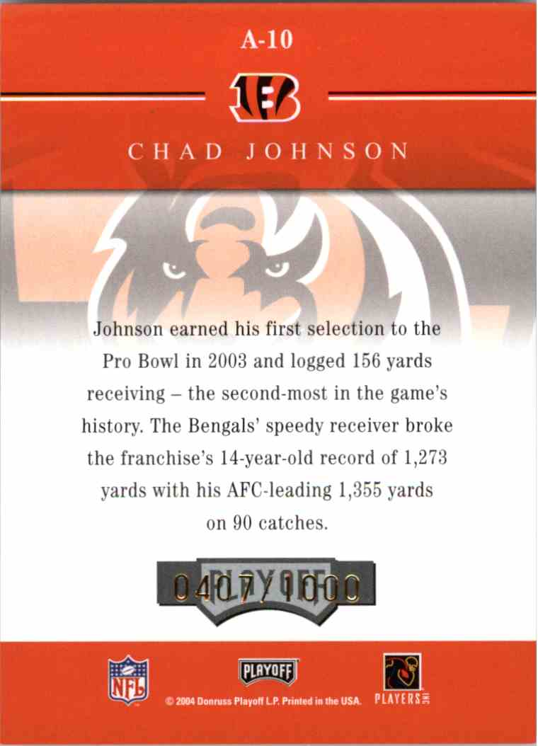2004 Playoff Honors Chad Johnson #A10 card back image