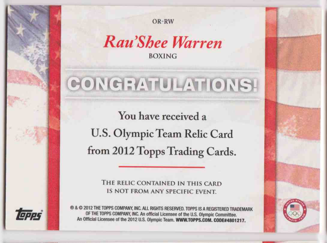 2012 Topps U.S. Olympic Team Relic Rau'shee Warren #OR-RW card back image