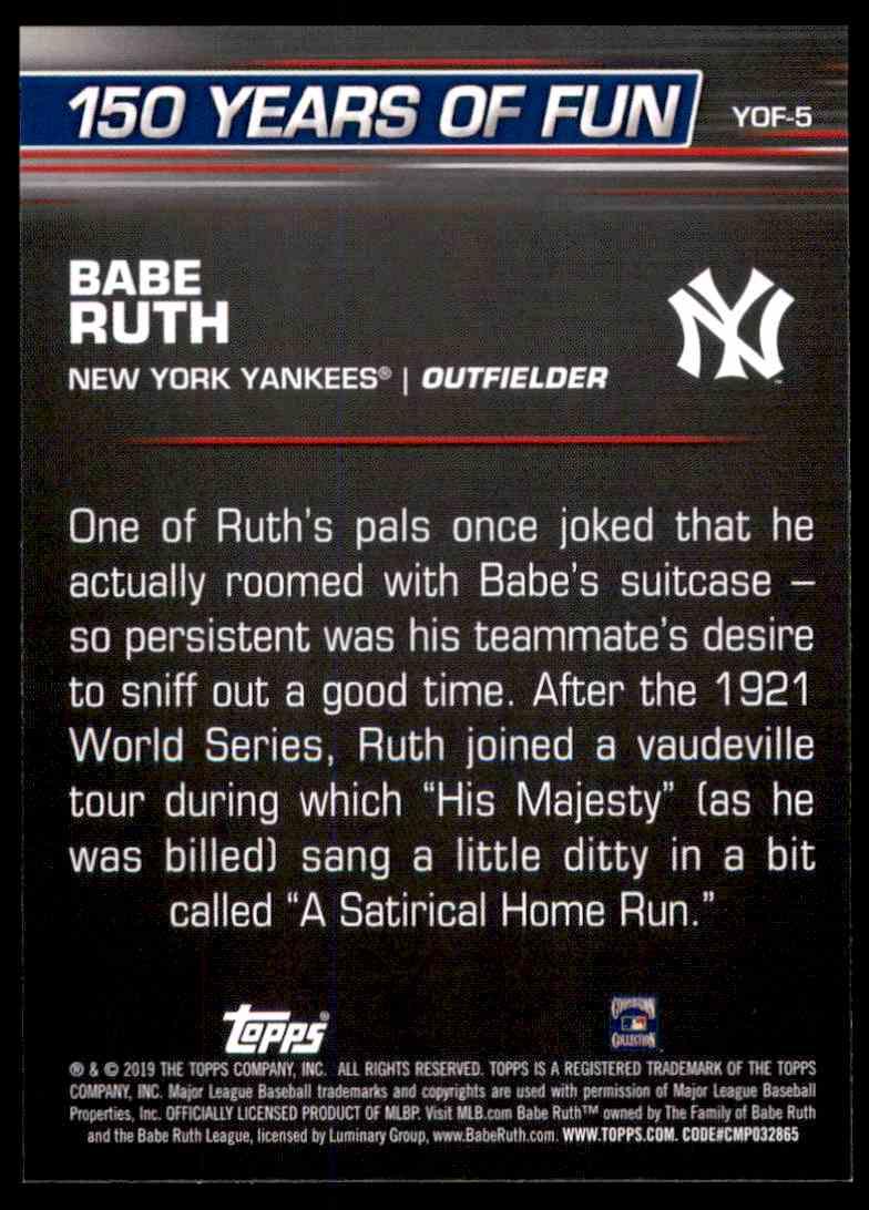 2019 Topps Opening Day 150 Years Of Fun Babe Ruth #5 on Kronozio