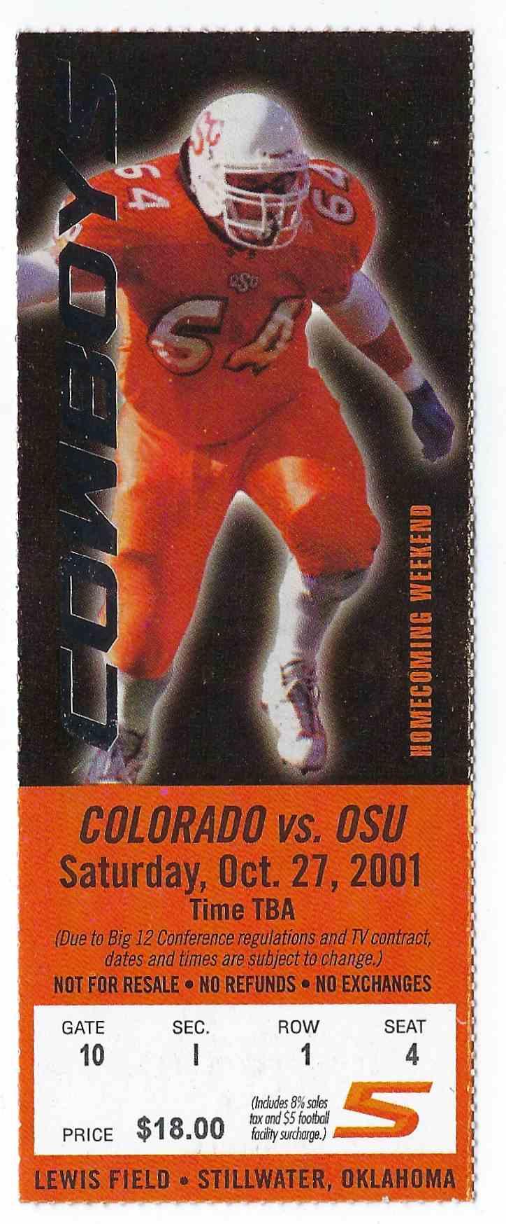 2001 College Football Ticket Stub Colorado Vs Oklahoma ...