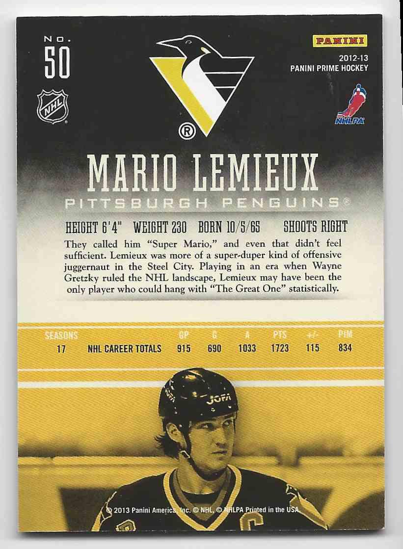 2012-13 Panini Prime Mario Lemieux #50 card back image