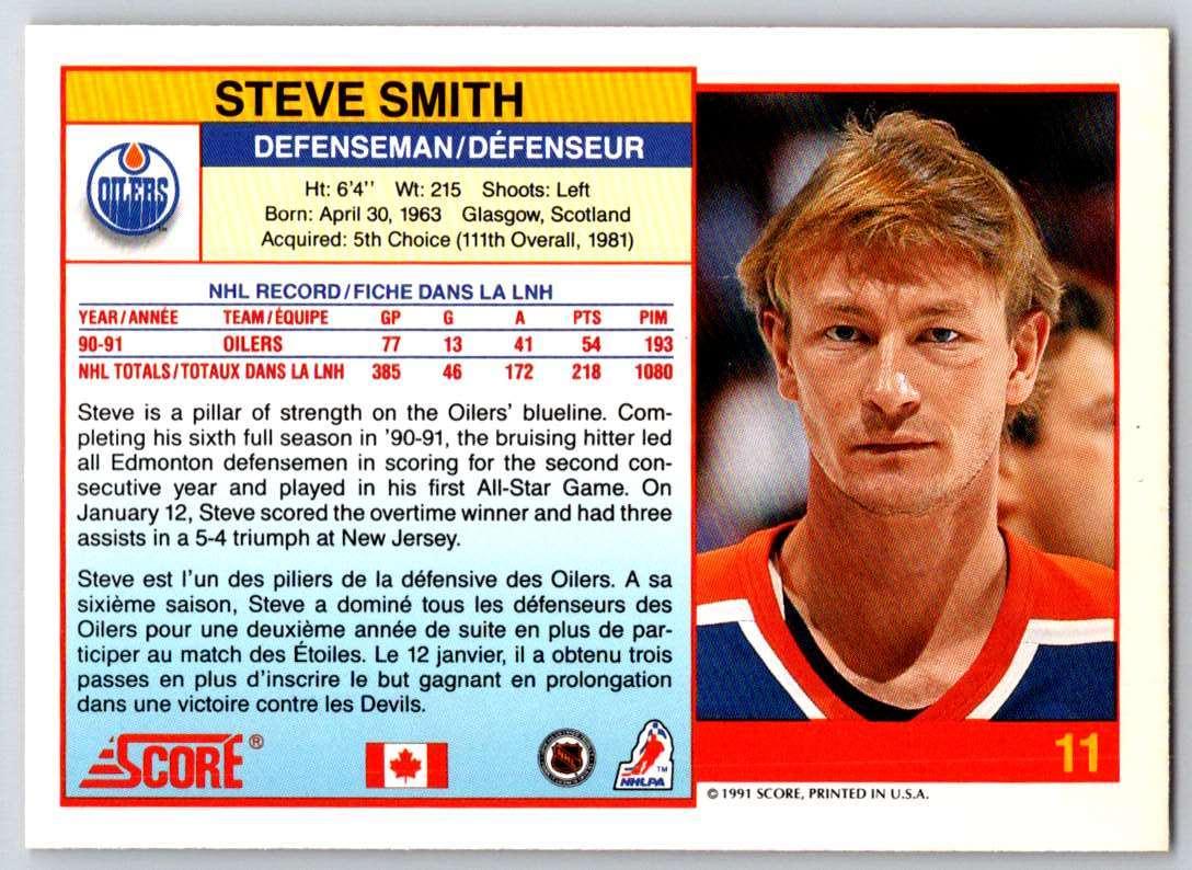 1991-92 Score Canadian Bilingual Steve Smith #11 card back image