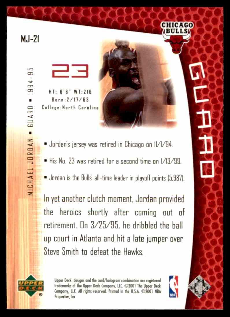 2001-02 Upper Deck Mj's Back Michael Jordan #MJ21 card back image