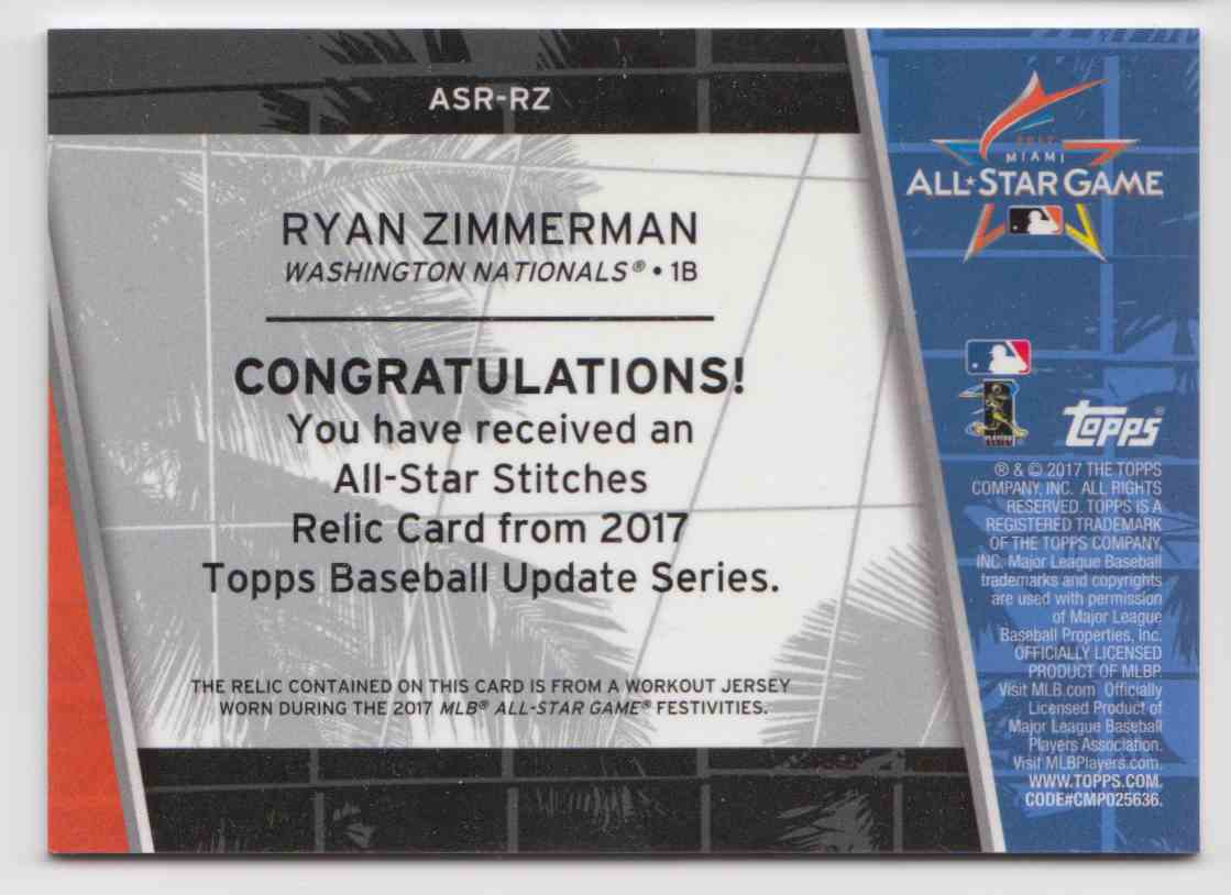 2017 Topps Update All-Star Stitches Relics Ryan Zimmerman #ASR-RZ card back image