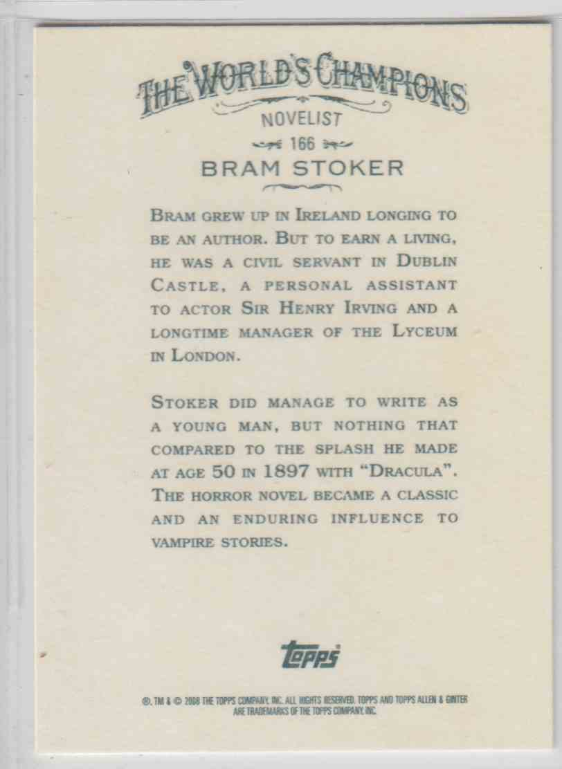 2008 Topps Allen And Ginter Bram Stoker #166 card back image
