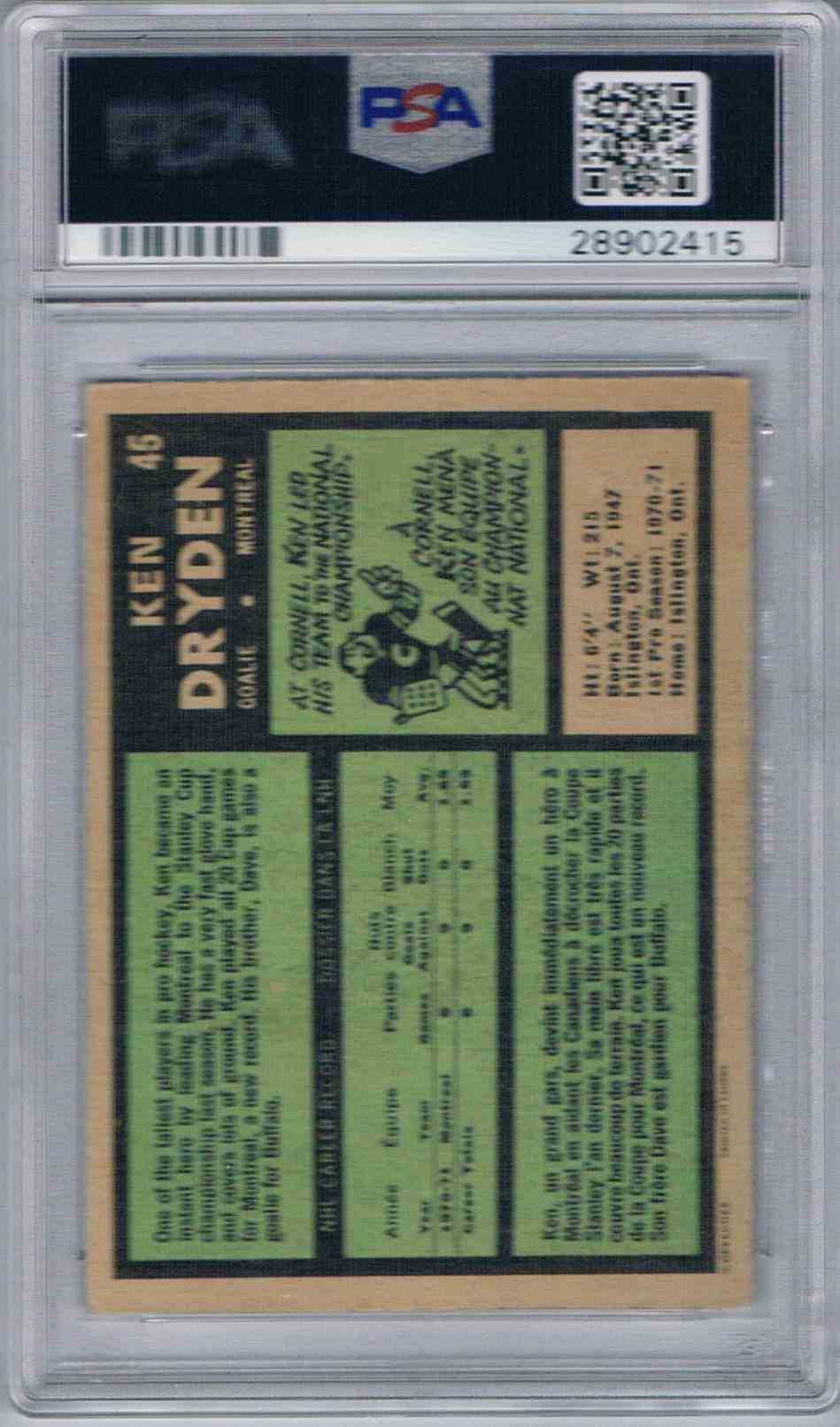 1971 72 O Pee Chee Opc Ken Dryden 45 On Kronozio