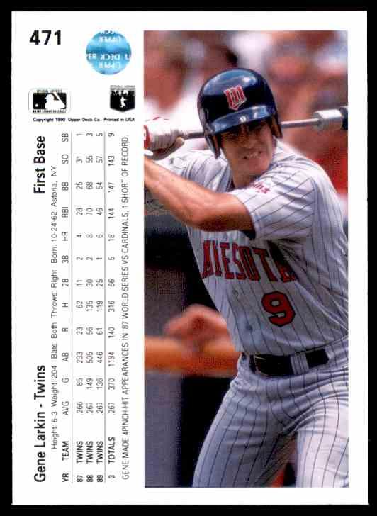 1990 Upper Deck Gene Larkin #471 card back image