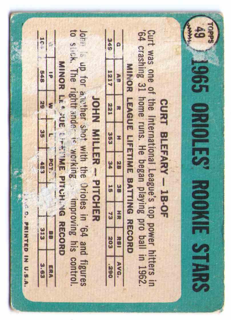 1965 Topps John Miller / Curt Blefary #49 card back image