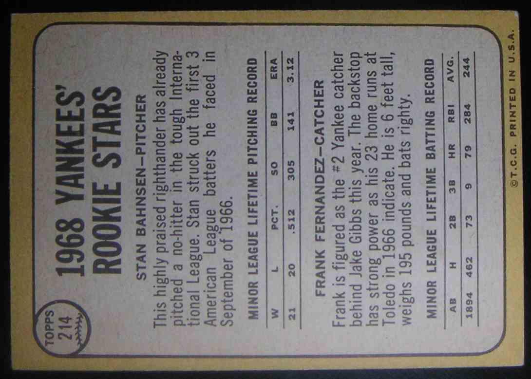 1968 Topps 1968 Rookie Stars Stan Bahnsen Frank Fernandez #214 card back image