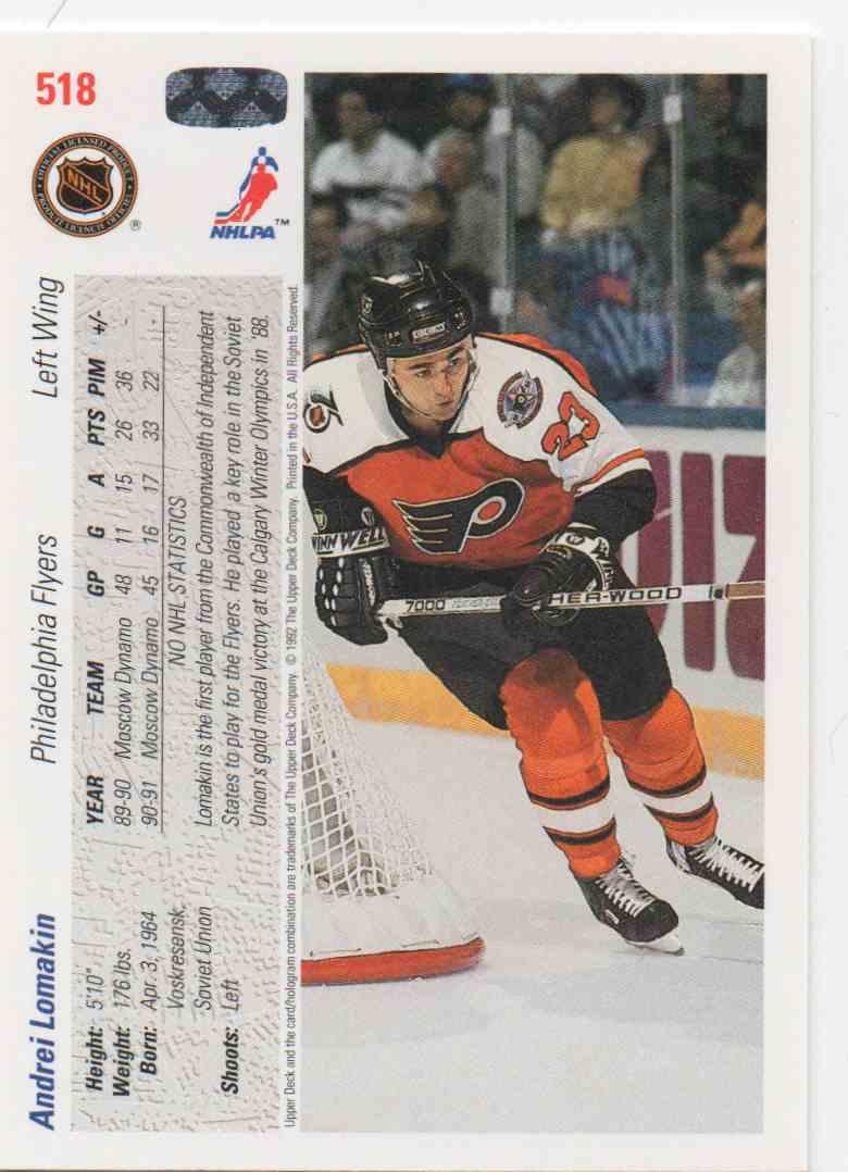 1991-92 Upper Deck Andrei Lomakin #518 card back image