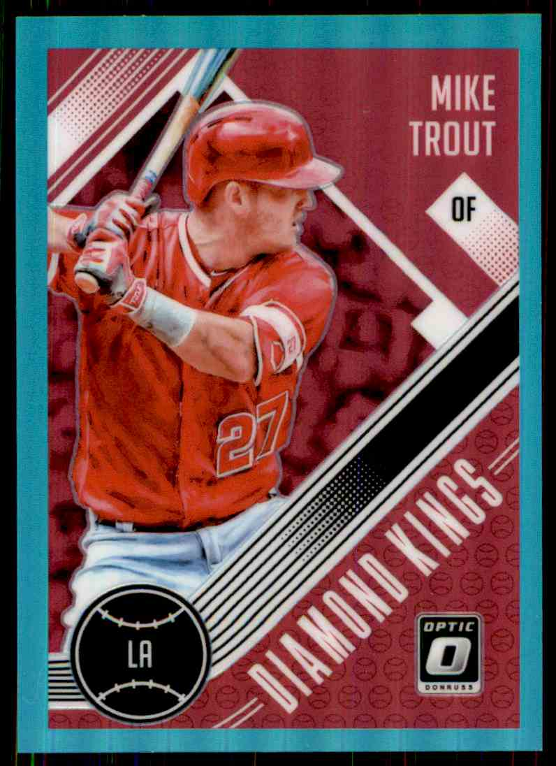 2018 Donruss Optic Aqua Prizm Diamond Kings Mike Trout #13 card front image