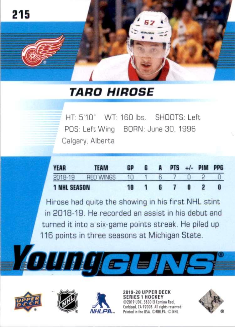 2019-20 Upper Deck Taro Hirose Yg RC #215 card back image