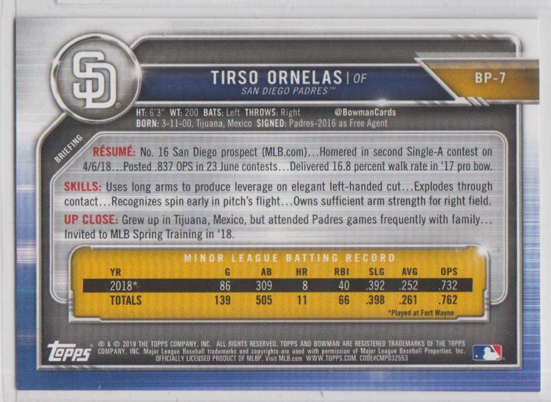2019 Bowman Prospects Tirso Ornelas #BP-7 card back image