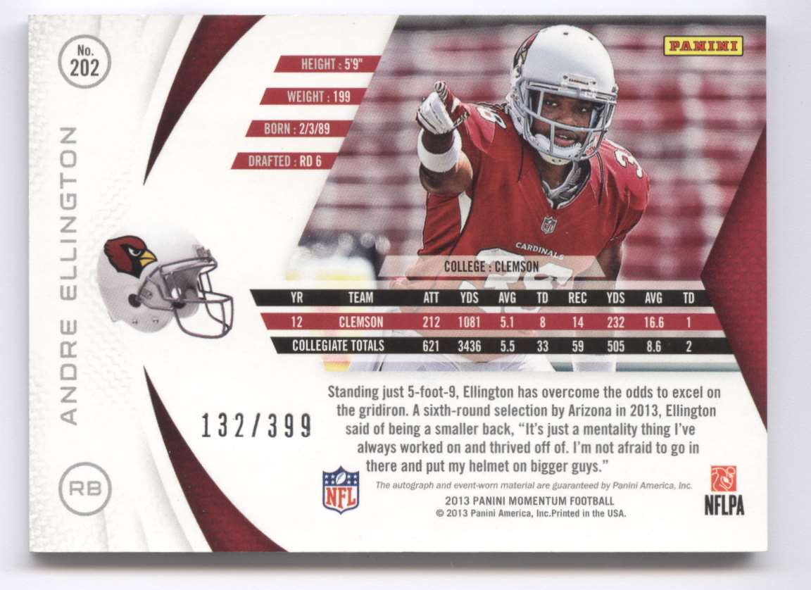 2013 Panini Momentum Rookie Signature Rps Andre Ellington #202 card back image