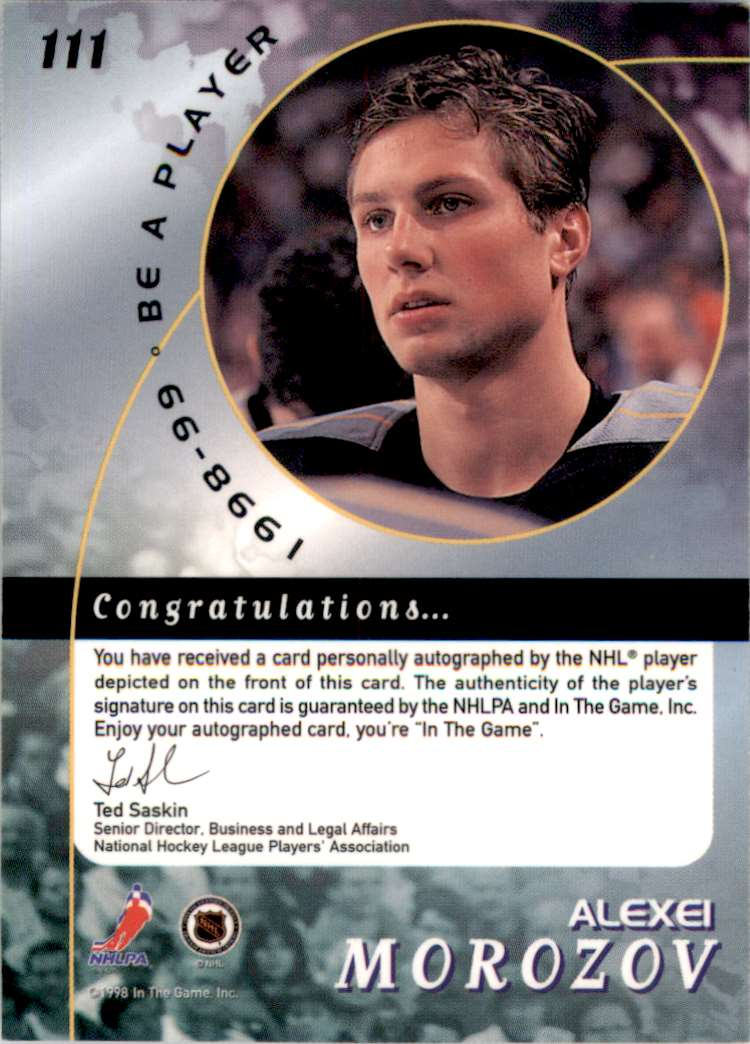 1998-99 Be A Player Autographs Alexei Morozov #111 card back image