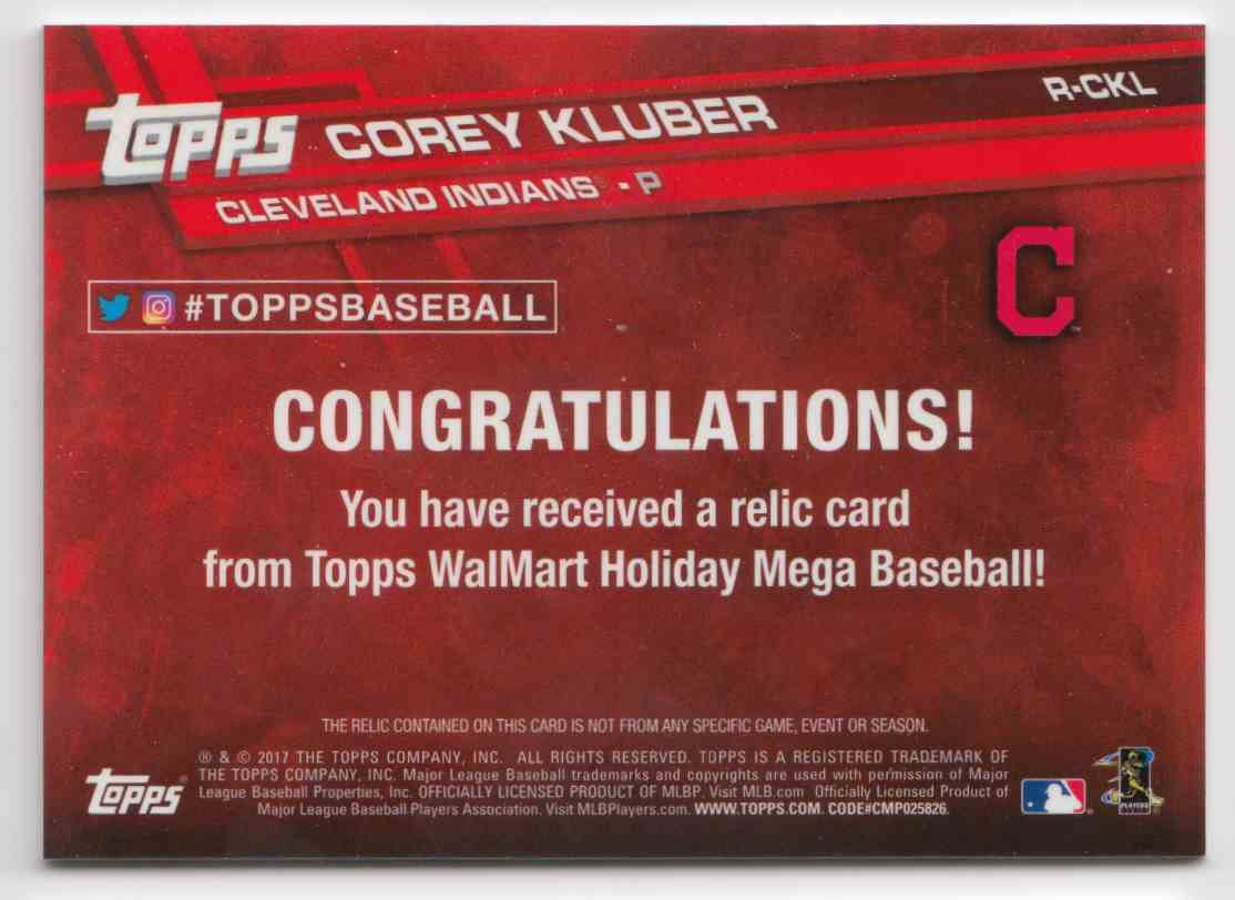 2017 Topps Holiday Relics Corey Kluber #R-CKL card back image
