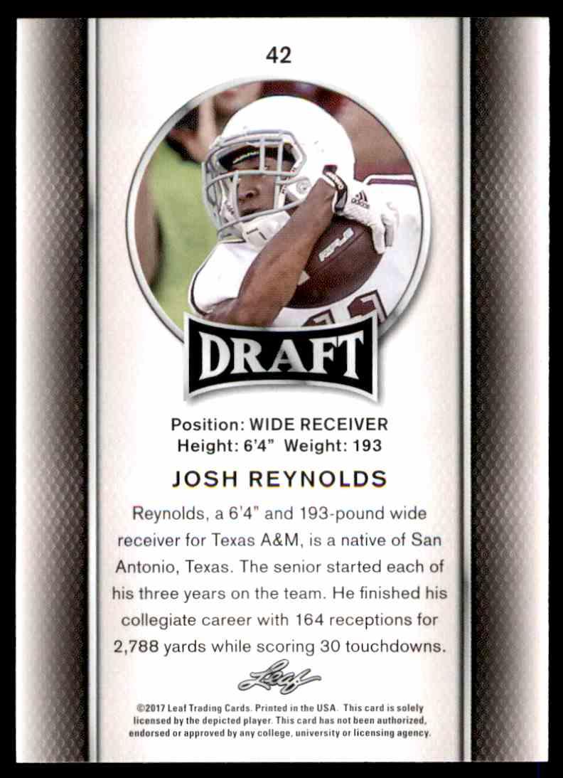 2017 Leaf Draft Josh Reynolds #42 card back image