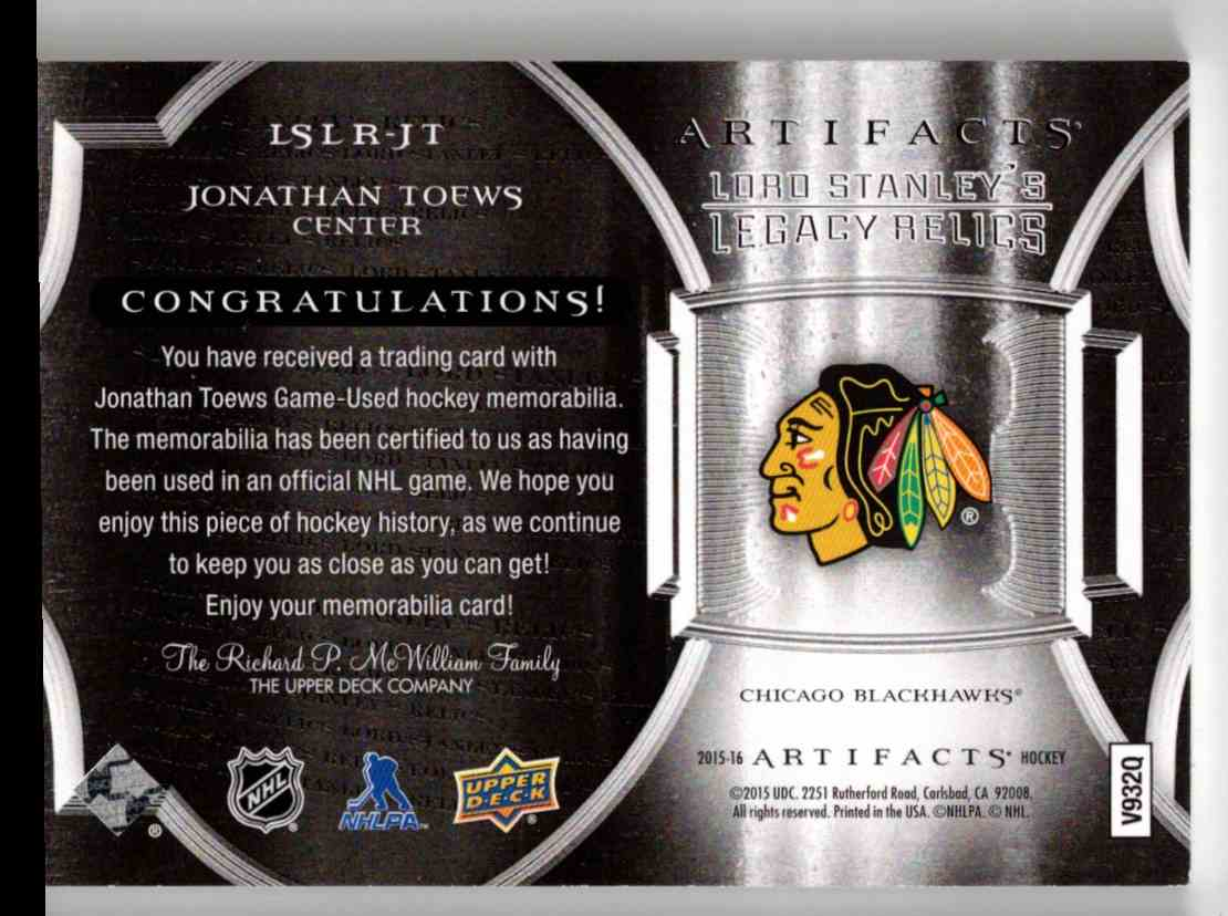 2015-16 Upper Deck Artifacts Lord Stanley's Relics Gold Jonathan Toews #LSLR-JT card back image