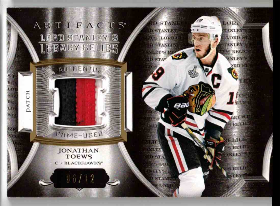 2015-16 Upper Deck Artifacts Lord Stanley's Relics Gold Jonathan Toews #LSLR-JT card front image