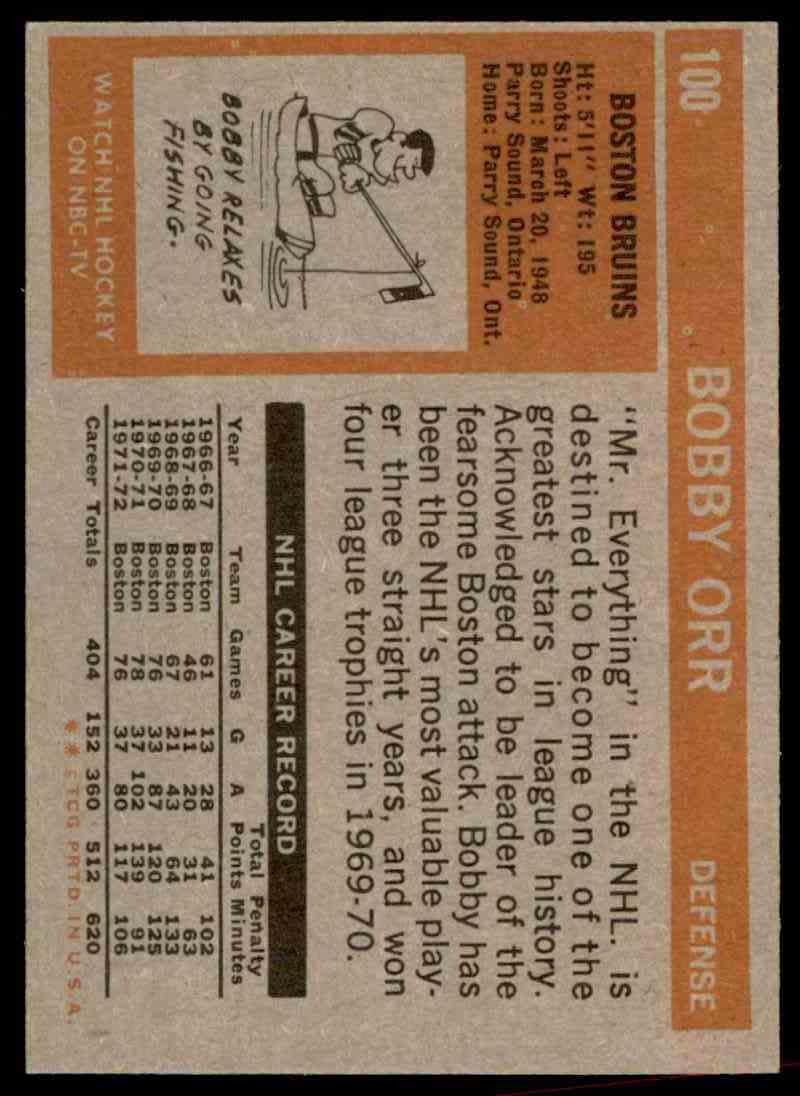 1972-73 Topps Bobby Orr #100 card back image
