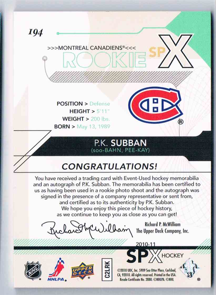 2010-11 Spx Rookie Spectrum P.K. Subban #194 card back image
