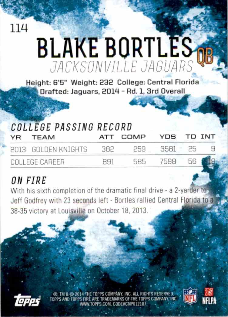 2014 Topps Fire Blake Bortles RC #114 card back image