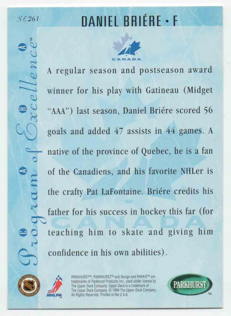 1994-95 Parkhurst Se Daniel Briere #SE261 card back image