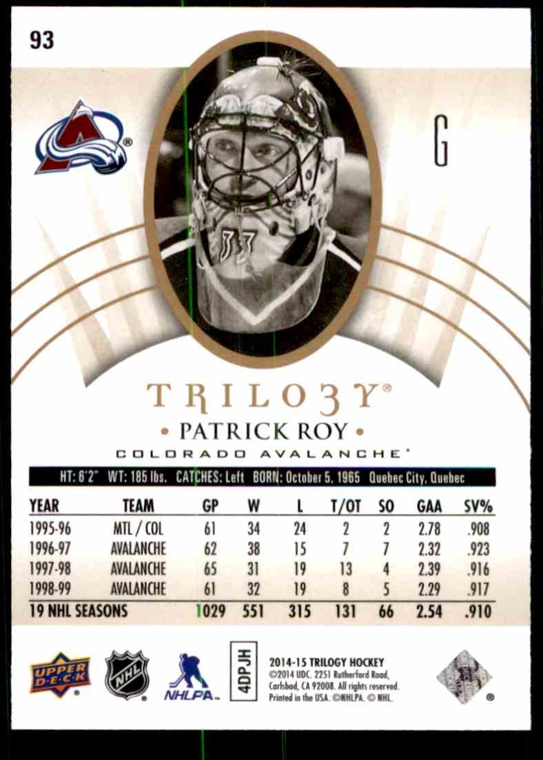 2014-15 Upper Deck Trilogy Patrick Roy #93 card back image