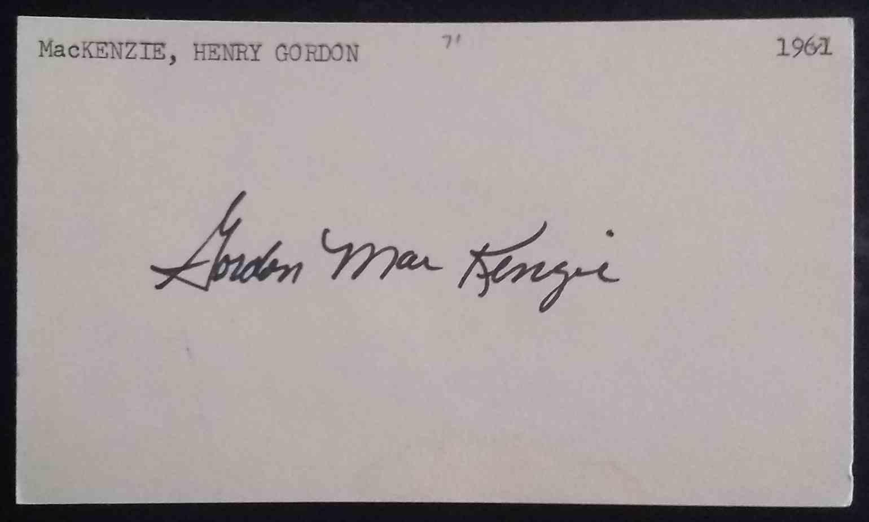 1961 3X5 Gordon MacKenzie card back image