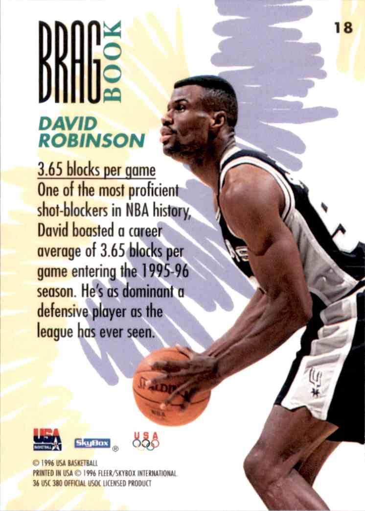 1996-97 SkyBox USA David Robinson #18 card back image