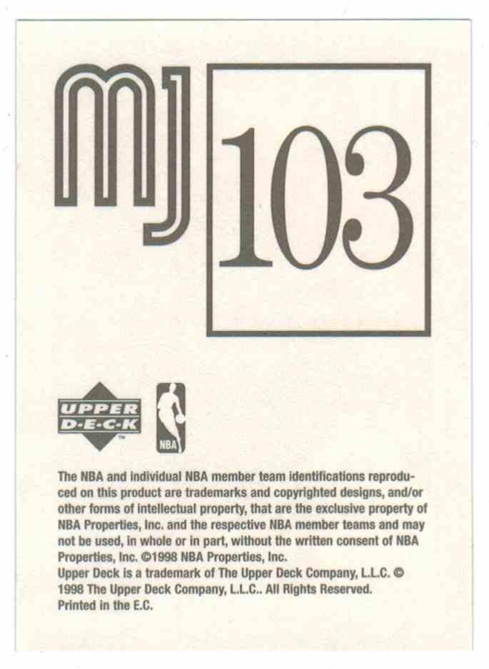 1998-99 Upper Deck Michael Jordan Mj Sticker Collection Michael Jordan #103 card back image